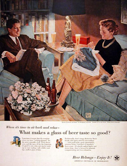 US Brewers Foundation 1956 Couple Living Room | Vintage Ad and Cover Art 1891-1970