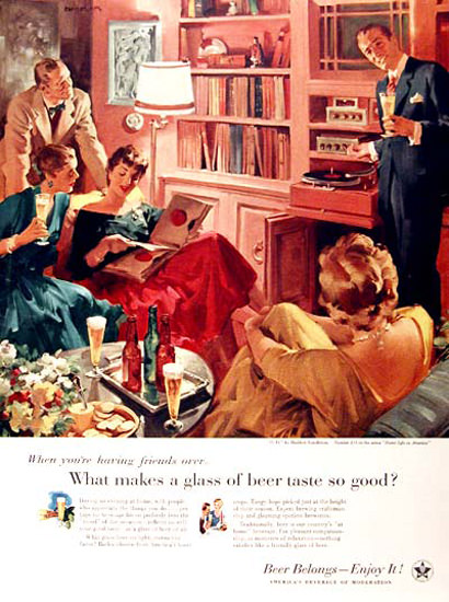 US Brewers Foundation 1956 Music Living Room | Vintage Ad and Cover Art 1891-1970