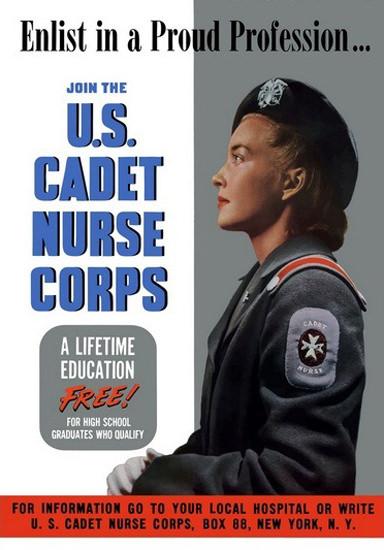US Cadet Nurse Corps A Lifetime Education Free | Vintage War Propaganda Posters 1891-1970