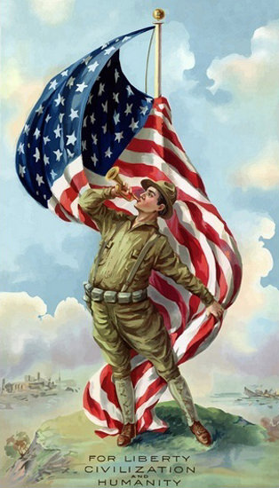 US Flag And World War 1 Soldiers For Liberty | Vintage War Propaganda Posters 1891-1970
