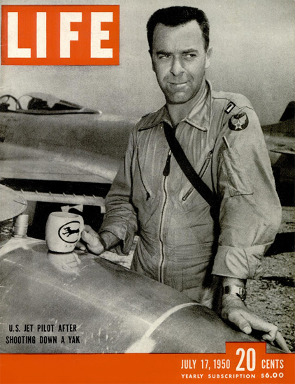 US Jet Pilot after shooting down YAK 17 Jul 1950 Copyright Life Magazine | Life Magazine BW Photo Covers 1936-1970