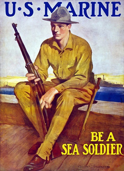 US Marine Be A Sea Soldier Harbor | Vintage War Propaganda Posters 1891-1970