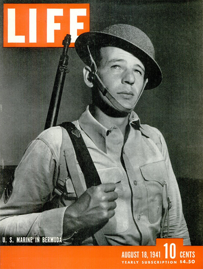 US Marine in Bermuda 18 Aug 1941 Copyright Life Magazine | Life Magazine BW Photo Covers 1936-1970