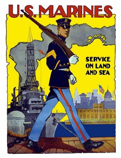 US Marines Service On Land And Sea Harbor | Vintage War Propaganda Posters 1891-1970