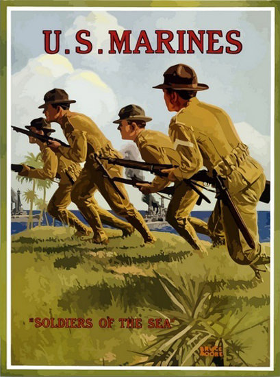 US Marines Soldiers Of The Sea In Action | Vintage War Propaganda Posters 1891-1970