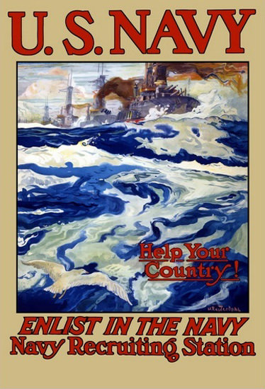 US Navy Help Your Country Enlist The Navy | Vintage War Propaganda Posters 1891-1970