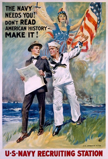 US Navy Recruiting Station Flag The Navy Needs | Vintage War Propaganda Posters 1891-1970