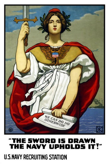 US Navy The Sword Is Drawn The Navy Upholds | Vintage War Propaganda Posters 1891-1970