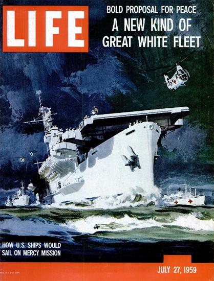 US Ships on Mercy Mission 27 Jul 1959 Copyright Life Magazine | Life Magazine Color Photo Covers 1937-1970