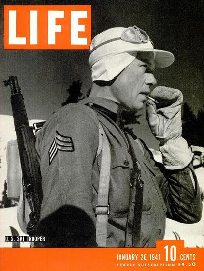 US Ski Trooper 20 Jan 1941 Copyright Life Magazine | Life Magazine BW Photo Covers 1936-1970