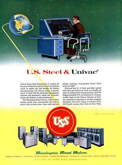US Steel And Univac Remington Rand Computer | Vintage Ad and Cover Art 1891-1970