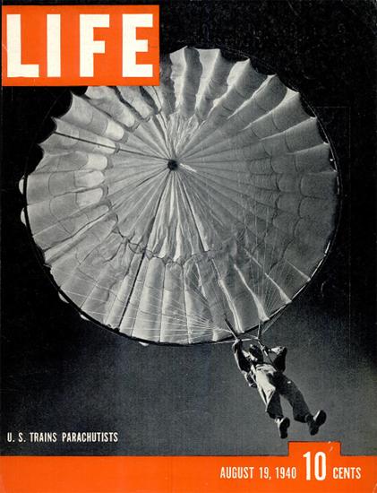US trains Parachutists 19 Aug 1940 Copyright Life Magazine | Life Magazine BW Photo Covers 1936-1970