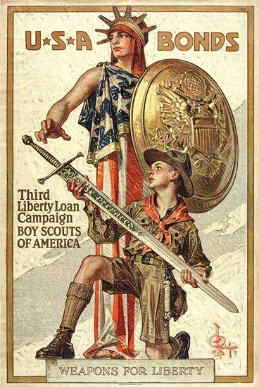 USA Bonds Boy Scouts Of America For Liberty | Vintage War Propaganda Posters 1891-1970