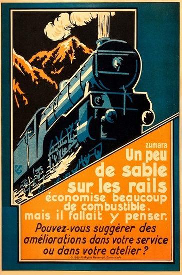 Un Peu De Sable Sur Les Rails Locomotive | Vintage Ad and Cover Art 1891-1970