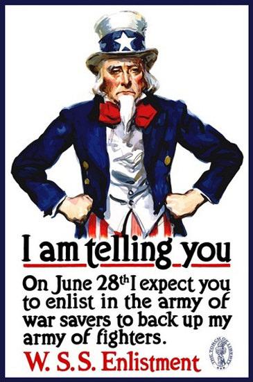 Uncle Sam I Am Telling WSSS Enlistment | Vintage War Propaganda Posters 1891-1970