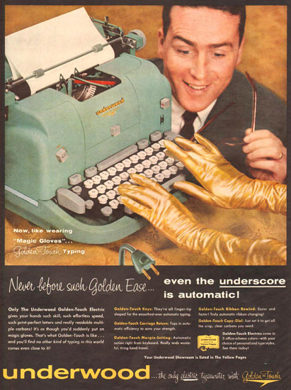 Underwood Electric Typewriter Gloves 1957 | Sex Appeal Vintage Ads and Covers 1891-1970