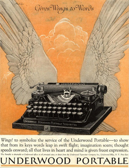 Underwood Portable Typewriter Wings To Words | Vintage Ad and Cover Art 1891-1970