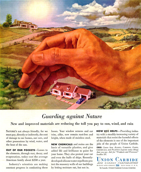 Union Carbide Guarding Against Nature | Vintage Ad and Cover Art 1891-1970