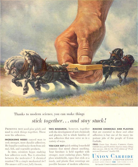 Union Carbide Stick Together Stay Stuck 1955 | Vintage Ad and Cover Art 1891-1970