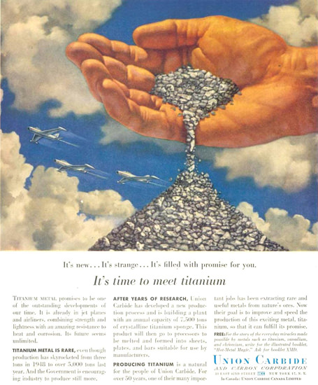 Union Carbide Time To Meet Titanium 1955 | Vintage Ad and Cover Art 1891-1970