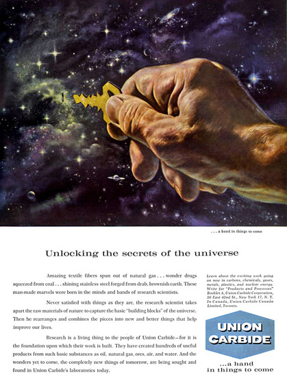 Union Carbide Unlocking Secrets Of The Universe | Vintage Ad and Cover Art 1891-1970