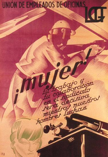 Union De Empleados De Oficinas Spain Espana | Vintage War Propaganda Posters 1891-1970