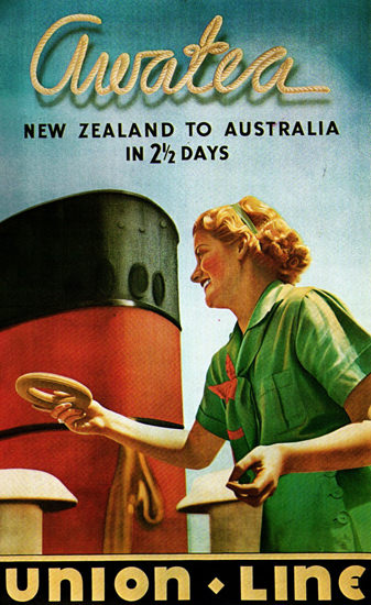 Union-Line Awatea New Zealand Australia 1930s | Vintage Travel Posters 1891-1970
