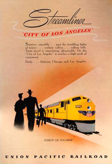 Union Pacific Streamliner City Of Los Angeles | Vintage Travel Posters 1891-1970
