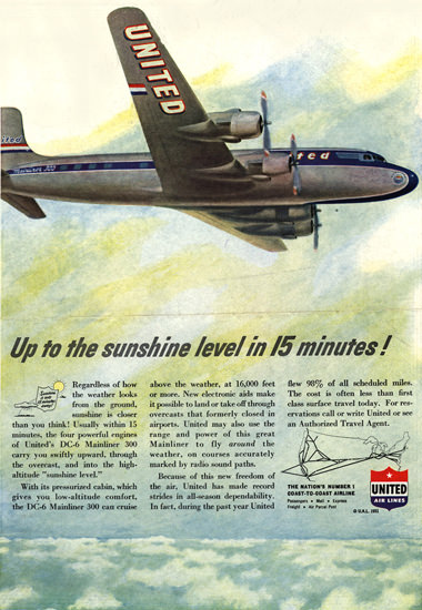 United Air 1951 Up To The Sunshine Level 15 | Vintage Travel Posters 1891-1970