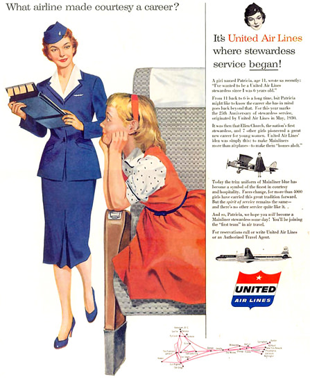 United Air Career Stewardess Air Hostess 1955 | Vintage Travel Posters 1891-1970