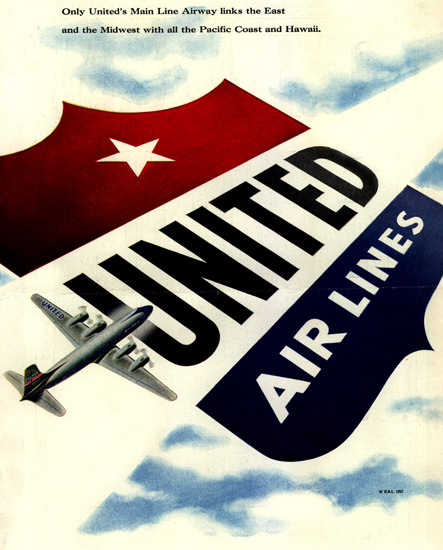 United Air Lines 1952 Pacific Coast And Hawaii | Vintage Travel Posters 1891-1970