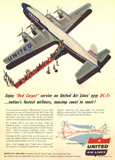 United Air Lines  DC-7 Enjoy Red Carpet 1954 | Vintage Travel Posters 1891-1970