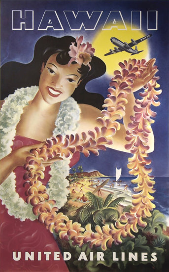 United Air Lines Hawaii 1950 Beach | Sex Appeal Vintage Ads and Covers 1891-1970