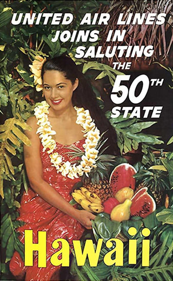 United Air Lines Hawaii 50th State 1959 | Sex Appeal Vintage Ads and Covers 1891-1970