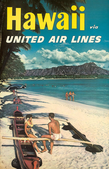 United Air Lines Hawaii Beach | Vintage Travel Posters 1891-1970