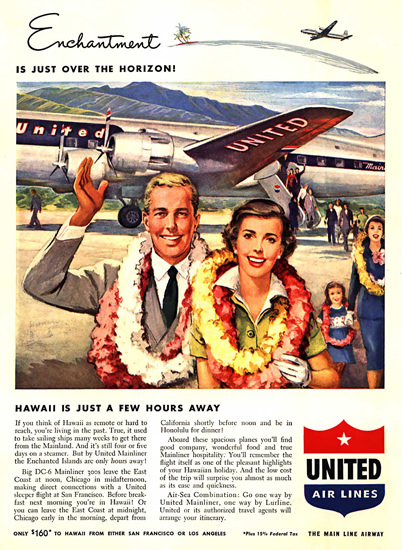 United Air Lines Hawaii Is Just A Few Hours Away | Vintage Travel Posters 1891-1970