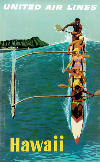 United Air Lines Hawaii Outrigger 1960 | Vintage Travel Posters 1891-1970