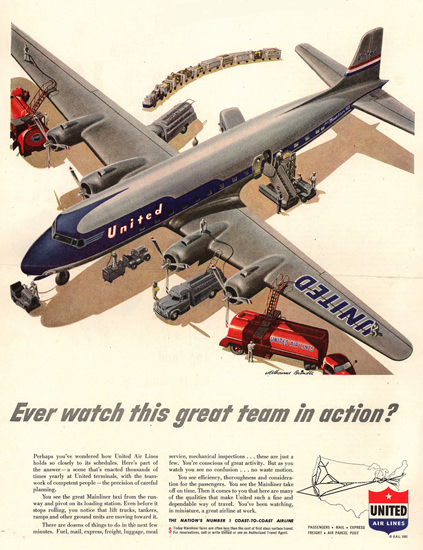 United Air Lines In Action 1951 | Vintage Travel Posters 1891-1970