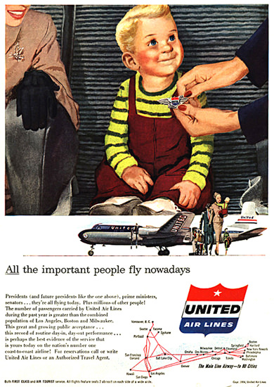 United Air Lines Kid All The Important People | Vintage Travel Posters 1891-1970