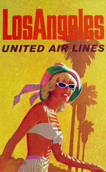United Air Lines Los Angeles Beach Girl 1960 | Sex Appeal Vintage Ads and Covers 1891-1970