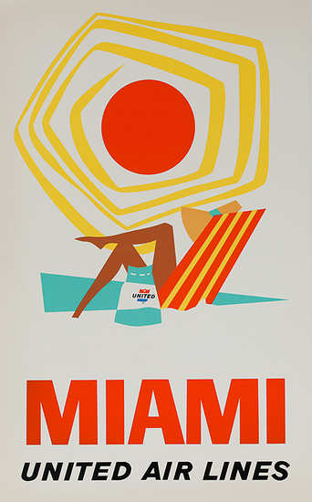 United Air Lines Miami Beach 1960s | Sex Appeal Vintage Ads and Covers 1891-1970