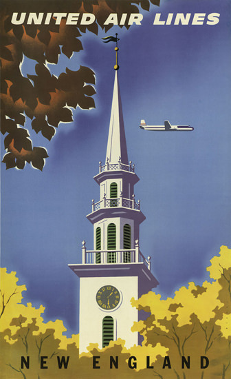 United Air Lines New England 1955 | Vintage Travel Posters 1891-1970