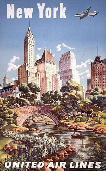 United Air Lines New York 1947 | Vintage Travel Posters 1891-1970
