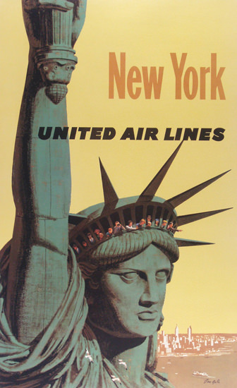 United Air Lines New York Statue Of Liberty 1960 | Vintage Travel Posters 1891-1970