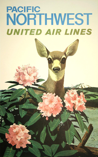 United Air Lines Pacific Northwest 1960 | Vintage Travel Posters 1891-1970