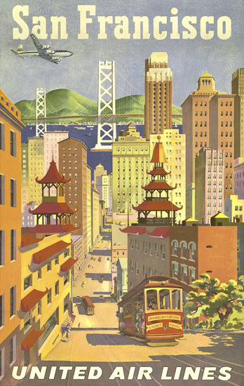 United Air Lines San Francisco Cable Car 1950 | Vintage Travel Posters 1891-1970