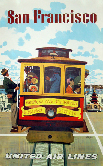 United Air Lines San Francisco Cable Car 1955 | Vintage Travel Posters 1891-1970