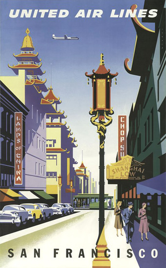 United Air Lines San Francisco China Town   Vintage Travel Posters 1891-1970