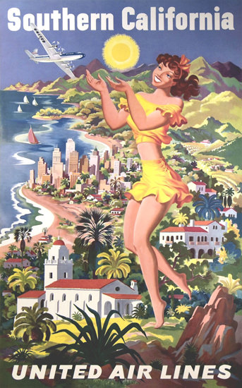 United Air Lines Southern California 1950 | Sex Appeal Vintage Ads and Covers 1891-1970