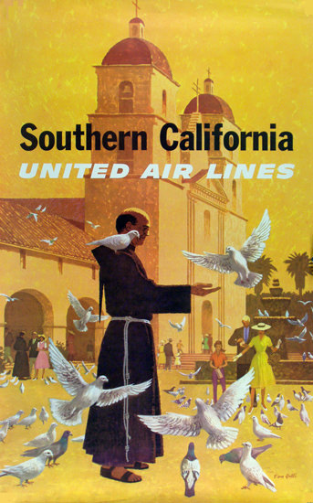 United Air Lines Southern California 1960s Monk | Vintage Travel Posters 1891-1970